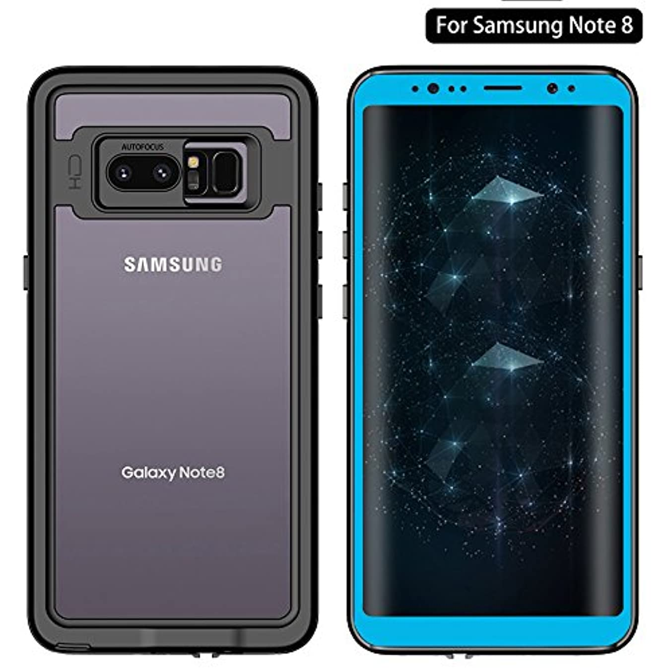 Galaxy Note 8 Waterproof Case, Dooge Transparent Pattern Shockproof Dirtproof Snowproof Rain Proof,Heavy Duty Full Protection Case Cover Rugged IP68 Certified Waterproof Case for Samsung Galaxy Note 8