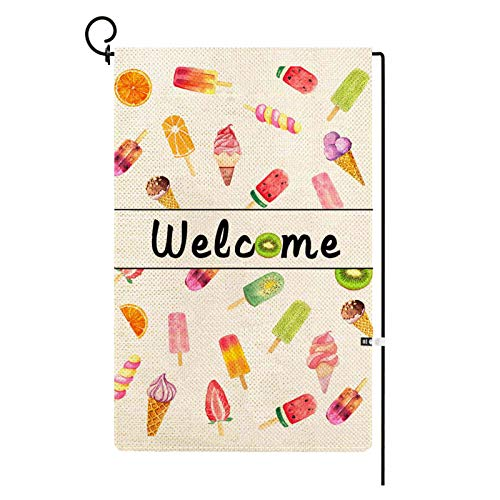PROCIDA Summer Welcome Garden Flag Watercolor Ice Cream Popsicle Yard Flag Vertical Double Sided Burlap Small 12.5 X 18 Inch Seasonal Outdoor House Home Decoration