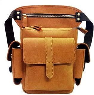 OneChange Travel Motorcycle Riding Pockets Leather Men's Messenger Bag Messenger Bag Shoulder Bag Belt Waist Bag Thigh Hem Leg Bag (Color : Yellow, Size : S)