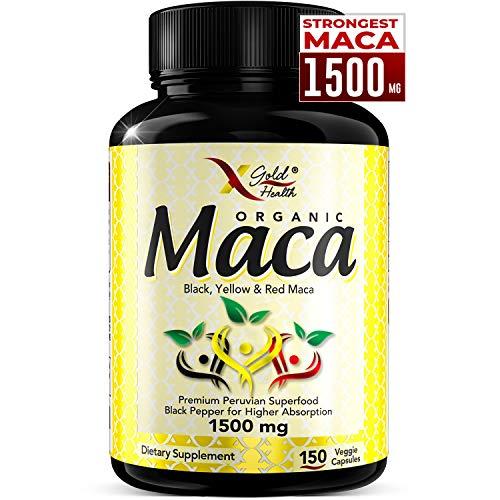 Organic Maca Root Powder Capsules Black, Red, Yellow Strongest 1500 mg Peruvian Maca Gelatinized for Energy, Performance, Mood for Men and Women, Vegan Pills w/Black Pepper for Best Benefits