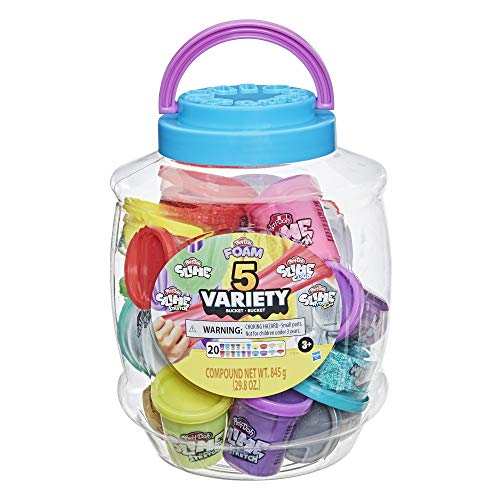 Play-Doh Slime Foam Variety Bucket of 5 Textures, 20 Cans, Assorted Colors, Sensory Toy for Kids 3 Years and Up, Non-Toxic