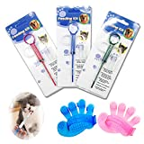 lechengjia 3 Pieces Pet Pill/Tablet Syringe Medicine Feeder Reusable Safety Cat Dog Animal Pill Dispenser Tool for Small Animals,With Pet Grooming Glove,Pet brush (Multicolor)