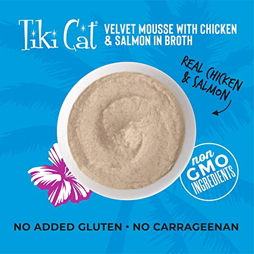 Tiki Cat Velvet Mousse Grain-Free Wet Food with a Silky-Smooth Texture for Adult Cats & Kittens, 2.8oz, 12pk, Chicken & Salmon