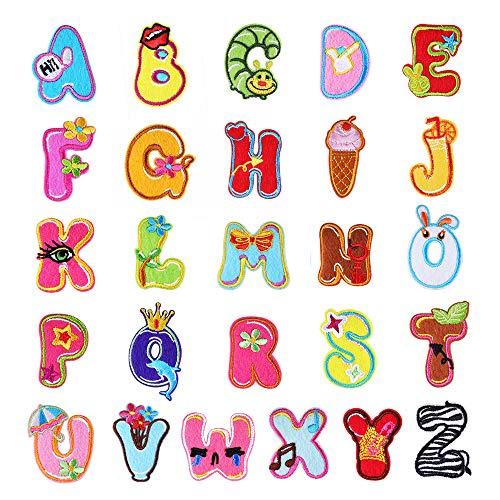 Bunte Alphabet-Buchstaben, A-Z, bestickte Aufnäher, Bügelflicken, Aufnäher, Bügelbild, Patch, für Jeans, Kleidung, 26 Stück