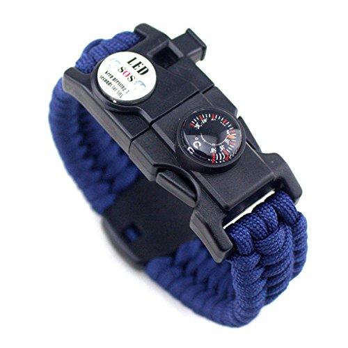 Aiming Männer Frauen Geflochtene überleben Armband LED-Licht Paracord Armband Camping Rettungsseil Zahnradsatz mit Pfeife-Kompass-Feuer-Starter Blau