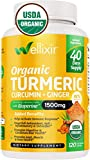 Wellixir Organic Turmeric Curcumin Supplement w. Bioperine & Ginger Root, 1500mg High Absorption - 500mg of 95% Curcuminoids