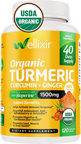 Wellixir Organic Turmeric Curcumin Supplement w. Bioperine & Ginger Root, 1500mg High Absorption - 500mg of 95% Curcuminoids