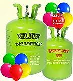 trendmile Premium Helium Ballongas Set - Heliumflasche für 20 Ballons mit bunten Latex Ballons 23cm + Schnur (1x Gas 20 Ballons)