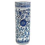 Oriental Furniture 24' Floral Blue & White Porcelain Umbrella Stand