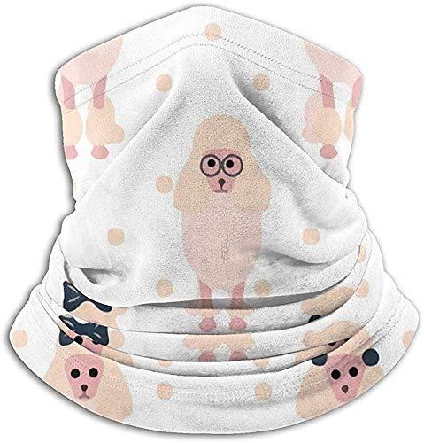 Niet bruikbare microvezel nekwarmer roze pudel studie meisjes nekbescherming tube oorwarmer hoofdband sjaal gezichtsmasker bivakmuts voor mannen en vrouwen