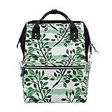 Bolsa de pañales con diseño de hojas de plantas de acuarela, color verde, para momia, de gran capacidad, multifunción, mochila para viajes