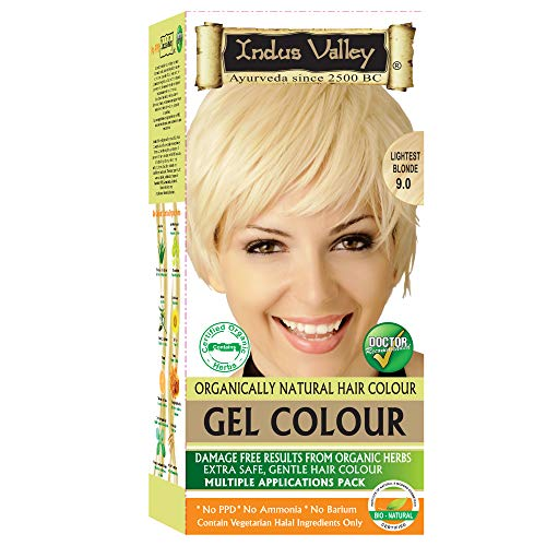 Indus Valley Organically Gel Hair Color Lightest Blonde 9.0, Long Lasting Hair Color With Refreshing Orange Aroma