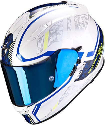 Scorpion Motorradhelm EXO-510 AIR Occulta Pearl White-Blue, Weiss/Blau, XL