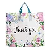 50 Pieces Thank You Gift Bags 12'x15' with Soft Loop Handles, Retail Shopping Merchandise Bags for Boutique, Goodie Bags, Party Favors Bags, Extra Thick 2.36 Mil Reusable Plastic Bags (Floral)