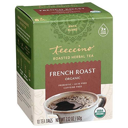 Teeccino Herbal Tea – French Roast – Rich & Roasted Herbal Tea That's Caffeine Free & Prebiotic for Natural Energy, Coffee Alternative, 10 Tea Bags