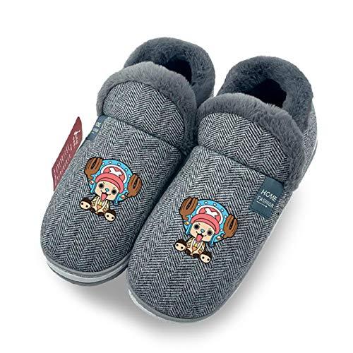 YZJYB Hombres Peluche Memory Foam Zapatillas De Casa con 3D One Piece Tony Chopper Pantuflas De Casa Caliente Suave Y Antideslizante Zapatos,UK 6~8/EU 39~41(270)