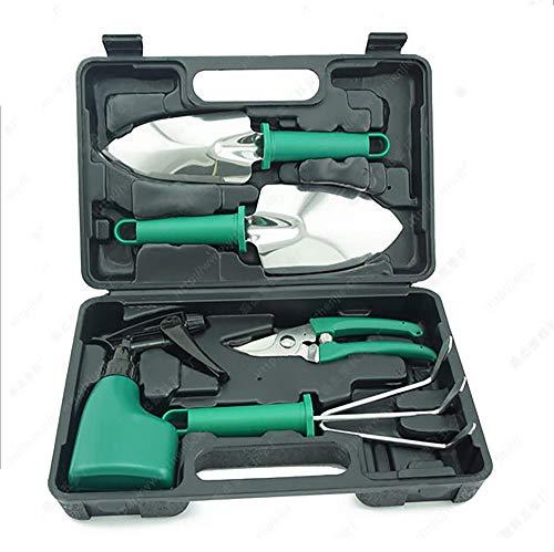Yajun Portable Gardening Tools Set Spade Rake Spray Bottle Handle Pruner Kit Non-slip Garden Weeding Digging Hand Use with Storage Box,Green