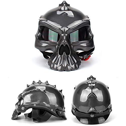 PKFG Casco Moto Jet Cráneo Gris Brillante, FG-01 Cascos Half-Helmet Moto Estilo Calavera Diseño, HD Gafas Protectoras y Visera Uso de Doble Cara, Fiesta Halloween,L(60~62CM)