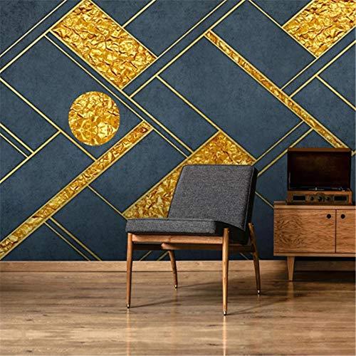 Tapeten Wandbild Hintergrundbild FototapeteBenutzerdefinierte Foto Wandtapete 3D moderne geometrische abstrakte goldene Linien Fresko Wohnzimmer TV Hintergrund Tapeten Home Decor-Über 300 * 210 cm