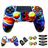 Silicone Skin Cover for Ps4 Controller (1pc Anti-Slip Case, 1 Pair L2 R2 Trigger Extender, 4pcs Thumb Grips,4pcs LED Light Bar Decal) Protector for DualShock PS4/ Slim/Pro Controller