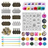 45 Pack Resin Jewelry Making Supplies Kit Art Craft Supplies for Resin, Nail Art, DIY Craft, Including 9 Different Patterns Pendant Trays Kit,Glitter Powder,Dry Flowers, Powder Scoops and Wheel Gears