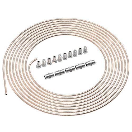 5m Bremsleitung Ø 4,75mm Kunifer mit ABE im SET + 10 Verschraubungen + 5 Verbinder M10 x 1 DIN 74 234 konform Kupfer-Nickel Bremsrohr im Sortiment für Bördel F