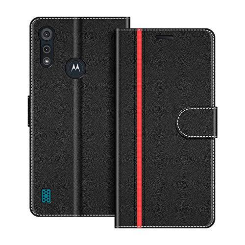 COODIO Handyhülle für Motorola Moto E6S Handy Hülle, Motorola Moto E6S Hülle Leder Handytasche für Motorola Moto E6S Klapphülle Tasche, Schwarz/Rot