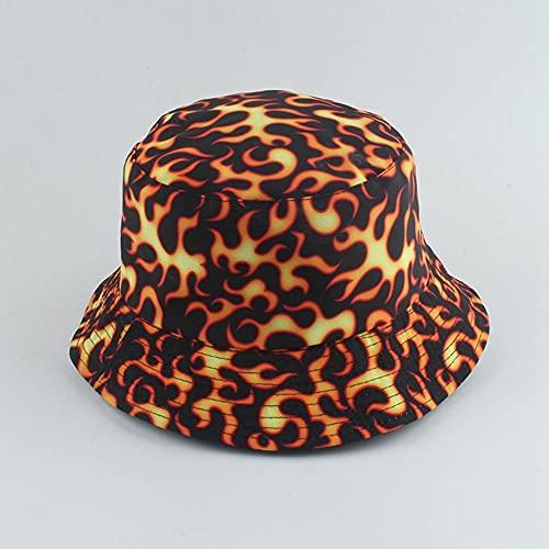 AOQW Sombrero De Pescador con Diseño De Fuego, Sombrero De Cubo Reversible...