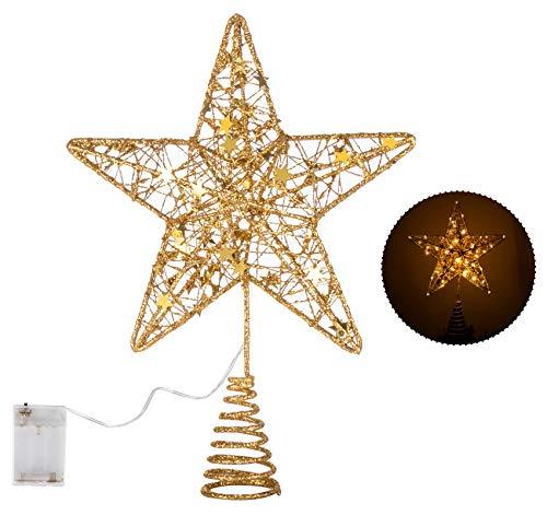 ilauke Étoile pour Sapin de Noël Arbre Topper Décoration,Chatoyant Exquis Topper Arbre Étoile Doré de Noël pour Toute Décoration de Fête-31cm