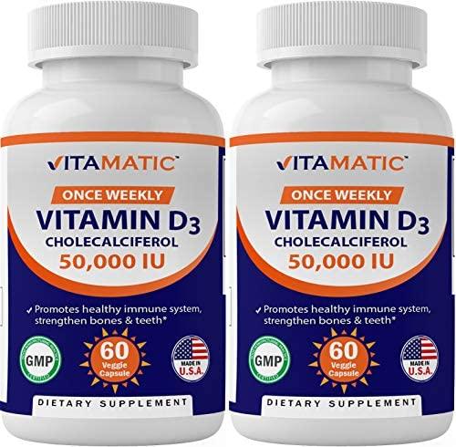 Vitamatic Vitamin D3 50,000 IU (as Cholecalciferol), Once Weekly Dose, 1250 mcg, 60 Veggie Capsules 1 Year Supply, Progressive Formula Helping Vitamin D Deficiencies (60 Count (Pack of 1))