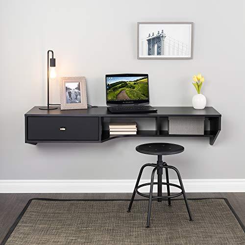 "Prepac Modern Floating Desk with Drawer, 58.25"", Black"