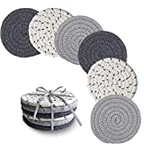 Drink Coasters, Handmade Woven Coasters for Drinks, 6 Pack (4.3 Inches Round, 8mm Thick), Super Absorbent Heat-Resistant Coasters for Drinks, Great Housewarming Gift (Giftable - Solid, 6 Pack)