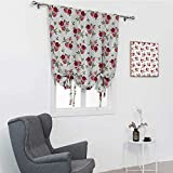 "Roses Decorations Collection Blackout Curtains for Bedroom, Pattern with Rose Stems Flowers Classic English Garden Style Design Repeat Art Thermal Insulated Panel, Red Pink Green, 39"" x 64"""