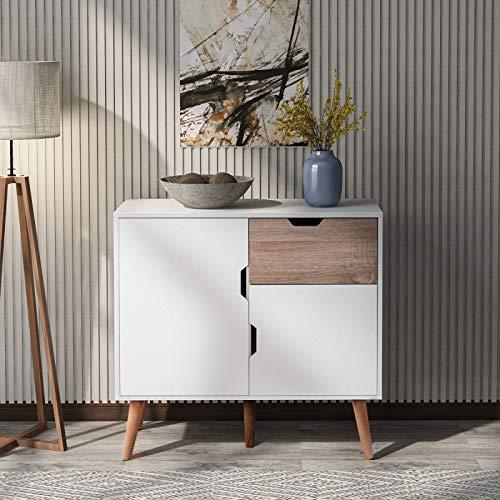 SUFUBAI Sideboard Storage Cabinet, Modern Kitchen Sideboard Wooden Cabinet Storage Cupboard with 1 drawer 2 doors for Dinning Room Living Room White