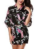 Avidlove - Kimono in raso, da donna, per la notte, taglia corta, vestaglia con motivo flor...