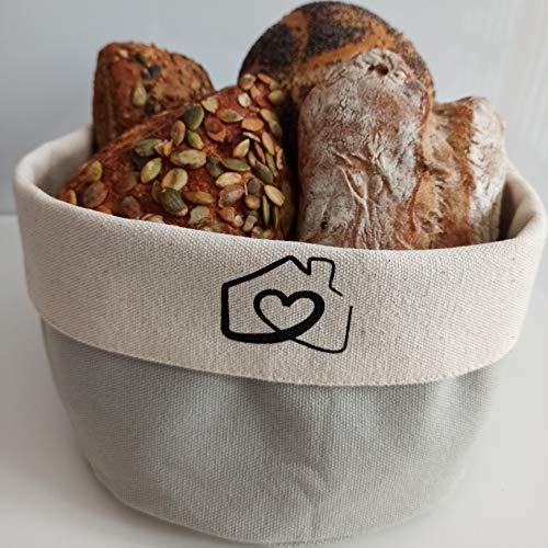 RingsHome - Hochwertiger Brotkorb aus 100% Baumwolle, Ø 20cm, zum stilvollen Servieren und Aufbewahren von Brot, Brezen und Backwaren bei Frühstück und Abendbrot (Hellgrau)