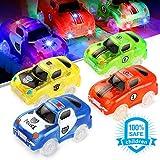 Sunyjoy 4 Voitures de Course Lumineuses(5 LED) Voitures de Jouet, Voitures Lumineuses Le Circuit Flexible Lumineux, Cadeau de Jeu de Voiture des Enfants 3 4 5 6+