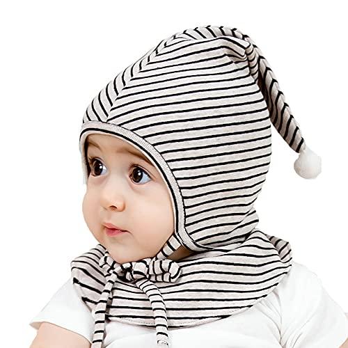 ZHANGYAN Beanie de algodón bebé recién Nacido, Turbante Infantil + Cubierta de Saliva, Sombrero de Sol de Viaje al Aire Libre (Color : White, Size : 36-50cm/14.1-19.6in)