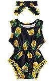 Mono para bebé con Mameluco con Cuello Redondo y borlas Body para niñas pequeñas Mono Corto con Estampado de piña Amarilla para Park Street Outfit Set con Diadema 6-12 Meses