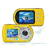CamKing wasserdichte Kamera HD 1080P 24 MP, 16X Zoom Unterwasser Digitalkamera, Selfie Dual Display 2.7 und 2.0 Zoll Bildschirm DV Aufnahme 10M (33ft) wasserdichte Action Digitalkamera (Gelb)