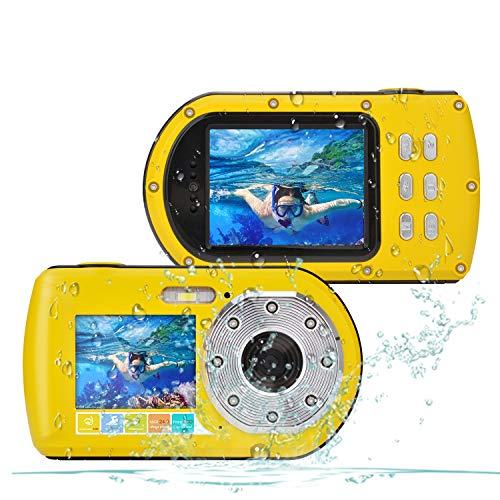 CamKing wasserdichte Kamera HD 1080P 24 MP, 16X Zoom Unterwasser Digitalkamera, Selfie Dual Display 2.7 und 2.0 Zoll Bildschirm DV Aufnahme 10M (100in) wasserdichte Action Digitalkamera (Gelb)