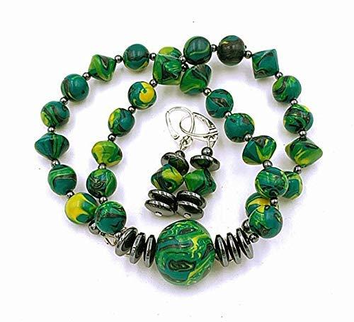 Schmuckset: Perlenkette Ohrringe Damen Handmade grün gelb, schwarz, Gesamtlänge Kette: ca. 45 cm
