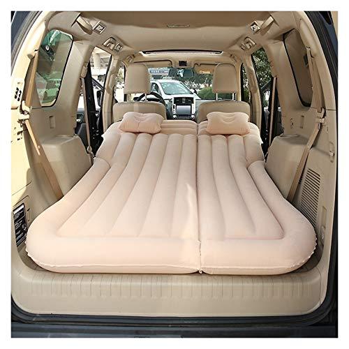 Jinan Colchón de aire para asiento trasero de coche, cama de aire portátil, inflable rápido al aire libre, playa, camping, colchoneta y almohadillas (color: beige)