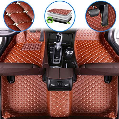 maiqiken Alfombrillas de coche personalizadas para Dodge Challenger 2004-2014, 2015-2019 de cuero de lujo impermeable antideslizante cobertura completa cojín delantero y trasero (marrón)