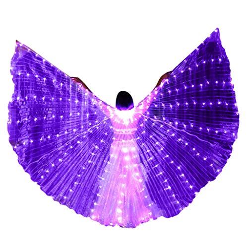 TDFGCR Mode und Phantasie LED Bauchtanz Engel Isis Flügel Schmetterlingsflügel mit Teleskopstäbchen einzigartiges Design voller Charme Stilvolle und helle psychedelische und mysteriöse Farben