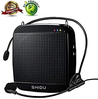 Amplificador de voz con micrófono con cable Headset 15W portátil personal Speaker MP3 Audio Sound System para maestros, ancianos, canto, autocares, yoga, guías de turismo,entrenadores al aire libre