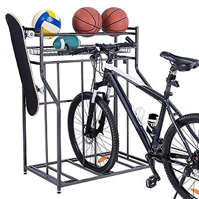 PLKOW BikeStorageRackforGarage with 3 Bike Stands, Free Standing Bike Rack for Road,Mountain,Hybrid, Kids Bicycle, Garage Organizer with Floor Bicycle Nook and Sports Storage Rack