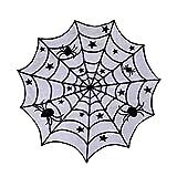 Jinlaili Mantel de Halloween Telaraña Negra Redonda Telaraña de decoración de Mesa de Halloween, Decoraciones de Halloween, Mantel de Halloween de Tela de Araña Negra Fiesta de Halloween