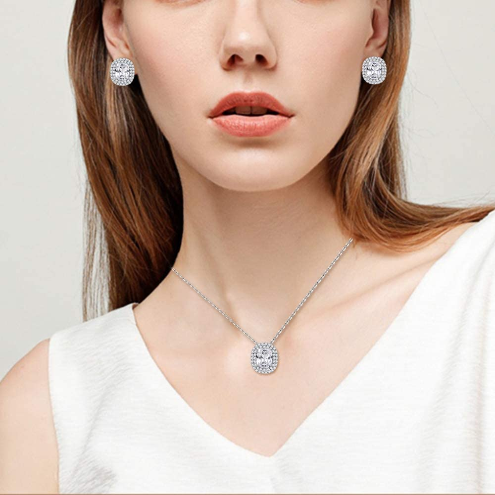 Square Design Jewelry Set Necklace & Earrings Trendy AAA Cubic Zirconia Rhodium Plated For Women