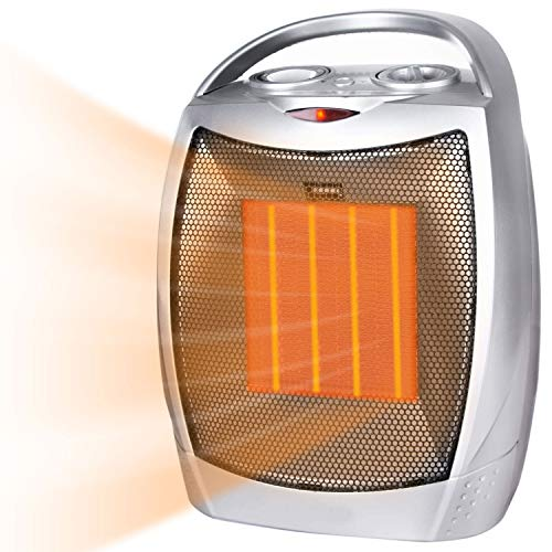 Minetom 750W/1500W Ceramic Space Heater, Portable Electric Heater with Overheat Protection & Tip-Over Protection, ETL Listed Personal Heater with Adjustable Thermostat for Office Home Bedroom